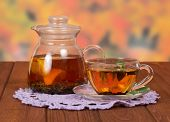 image of gunfighter  - Teapot and a cup of tea on napkin - JPG