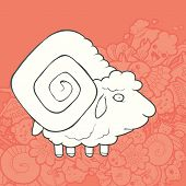image of ram  - Vector Illustration Cute Hand Drawn Ram with curved big horns - JPG