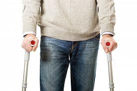 pic of crutch  - Mature male legs with crutches - JPG