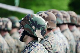 pic of corps  - Soldiers with military camouflage uniform in army formation - JPG