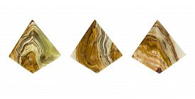 image of triangular pyramids  - Mineral Onyx Agate kind in the form of a pyramid - JPG