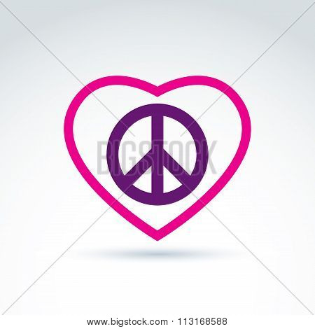 Peace And Love Theme Peace Sign And Love Vector Icons Loving Heart