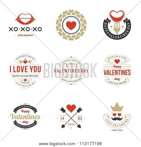 Valentine\'s Day labels, badges, heart icons, symbols, greetings cards, illustrations and typography