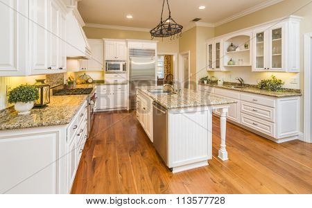 Beautiful Custom Kitchen Interior in a New House.