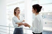 Постер, плакат: Two attractive businesswomen met in the office interior and stopped to talking about meeting