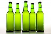 Beer in green bottles
