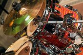 image of drum-set  - detail of a drum set before a jazz concert - JPG