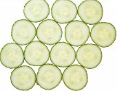 Cucumber Slices Arrranged In A Pattern.