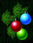 Christmas Background With Globes And Pine Leaves