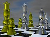 Polished metal chess pieces on chessboard
