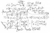 Complex math formulas on whiteboard. Mathematics and science with economics concept. Real equations, poster