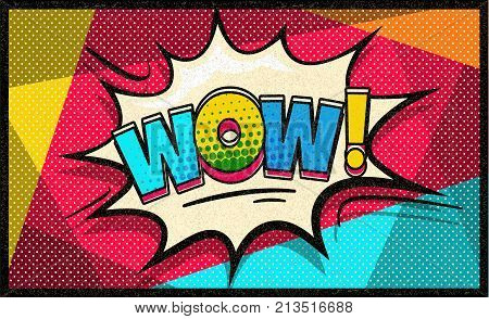 Wow Pop Art Vector Cloud And Bubble Sexy Speech Trendy Colorful Retro