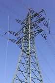 Power Line Pylon With Electrical Equipment