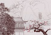image of cherry blossoms  - Vector illustration of a Chinese landscape in the style of old chinese painting - JPG