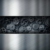metal industrial background with cogs and gears clockwork 3d illustration poster