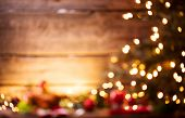 Christmas Holiday Blurred Background, Xmas table background with decorated Christmas tree and garlan poster