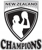picture of netball  - illustration of a netball player with ball set inside shield with word Australia Champions - JPG