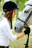 stock photo of white horse  - Image of happy female in riding cap holding purebred horse by bridle and looking at it - JPG