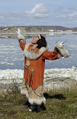 picture of chukotka  - Chukchi woman dancing in the folk dress - JPG