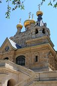 foto of church mary magdalene  - Russian Orthodox church of Mary Magdalene at the Mount of Olives in Jerusalem - JPG