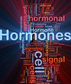 Background concept wordcloud illustration of Hormones hormonal signal glowing light