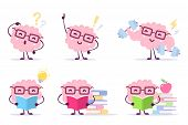 Enjoyable Education Brain Cartoon Concept. Vector Set Of Illustration Of Pink Color Happy Brain With poster