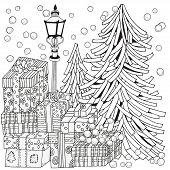Winter. Adult Coloring Book Page. Lantern Shines At Night. Christmas Trees And Gifts. Xmas Holiday C poster