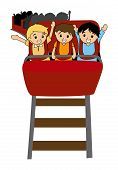 stock photo of amusement park rides  - Illustration of Kids in a Roller Coaster with Clipping Path - JPG