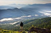 Beautiful Mountains Landscape And Person