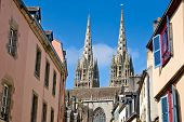 Quimper, Cathedral And Timbered Houses In Brittany, France