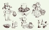 stock photo of ear candle  - Vector Sketch Easter bunny and various attributes of Passover - JPG
