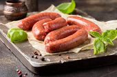 Raw Grilled Sausages With Meat (beef, Pork, Lamb) And Spices, Hot Merguez, Kabanos, Chorizo. Delicio poster