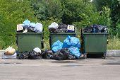 Dumpsters Being Full With Garbage. Garbage Is Pile Lots Dump. Garbage Waste Lots Junk Dump. poster