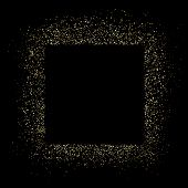 Golden Square Frame And Glitter. Black Background. Glowing Particles Texture Around. Decoration With poster