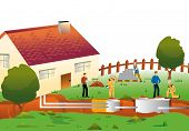 stock photo of septic  - and servicing geothermal pipes in the basement to a dwelling house - JPG