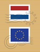 Stamps With Flag Of Netherlands And Eu