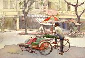 image of peddlers  - trishaw peddler in watercolor painting in Malaysia - JPG