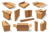 Carton Boxes, Delivery And Transportation Packages Isolated Mockups. Vector Cardboard Packs, Rectang poster