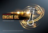 Car Motor Oil Or Auto Engine Synthetic Lubricant 3d Vector Advertising Banner With Vehicle Piston, S poster