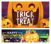 Halloween Trick Or Treat Party Celebration Poster With Pumpkin Lanterns. Vector Halloween Night Holi poster