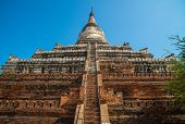 The Shwesandaw Pagoda An Iconic Famous Pagoda And The Best Spot For See Sunrise And Sunset In Bagan, poster