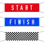 Start And Finish Hanging Banners. Vector Illustration. Red Start, Blue Finish And Checkered Textile  poster