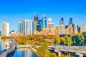 Philadelphia, Pennsylvania, USA downtown skyline at dusk on the Schuylkill River. poster