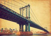 The Manhattan Bridge, New York City, United States. In the background  Manhattan and  Brooklyn Bridg poster