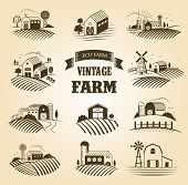 Set Of Isolated Vintage Eco Farms, Landscapes, Labels For Natural Farm Products. Farm House Concept  poster