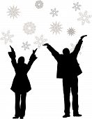 Vector Couple With Hands Up To Snowflakes. Winter