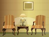 Chairs. Hotel. Lamp Vector