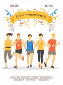 Maraphon Running People Vector Illustration. Sport Running Group Concept. People Athlete Maraphon Ru poster