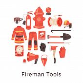 Red Fire Extinguisher And Firefighters Tools, Uniform And Equipment For Flame Fighting. Fire Station poster