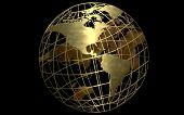 Gold Globe Black Background